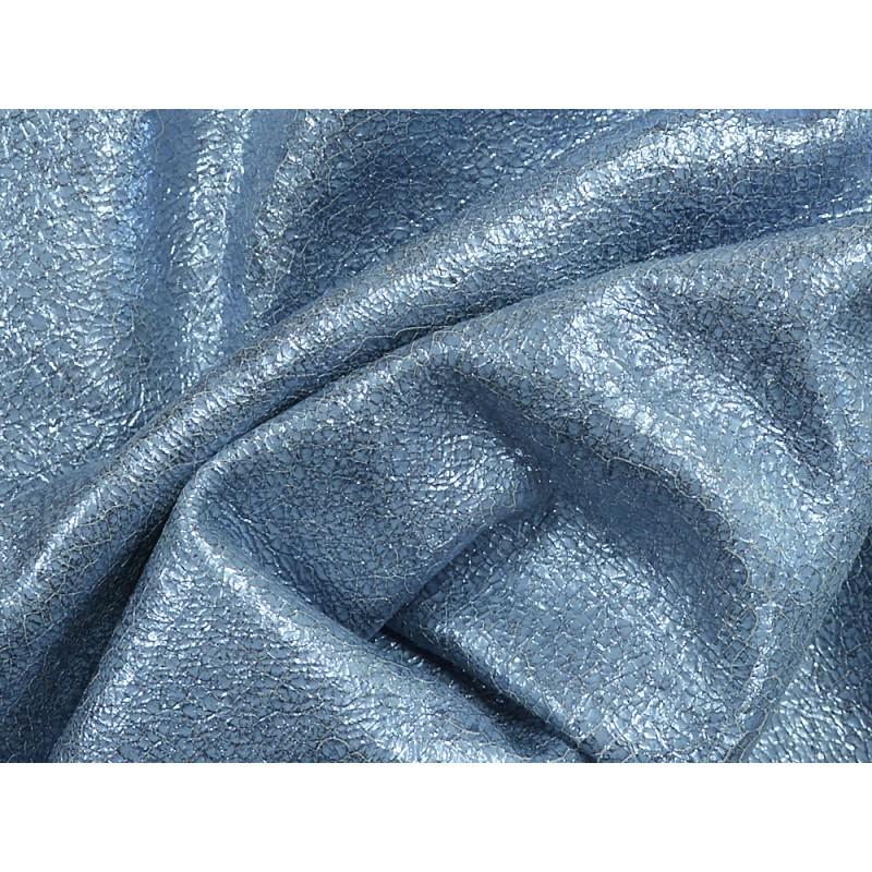 Peau de cuir chèvre métallisé craquelé bleu acier Cuir en Stock