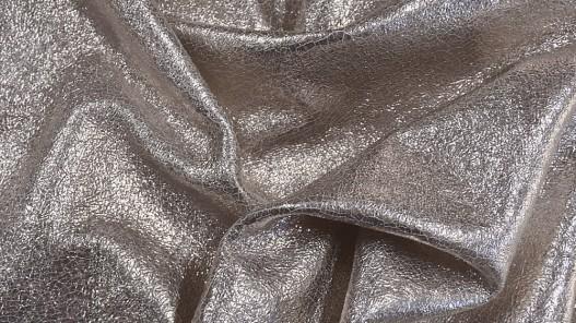Cuir de chèvre métallisé craquelé beige rosé doré maroquinerie Cuir en Stock