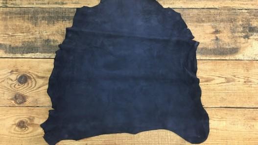 Peau de chèvre velours bleu marine Cuir en Stock