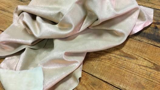 tannage souple peau de veau velours beige pailleté cuivre cuirenstock