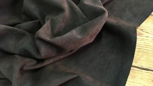 Tannage souple veau velours ciré huilé touché gras marron chocolat Cuirenstock