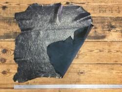 Endroit envers cuir de chèvre noir craquelé métallisé Cuir en stock