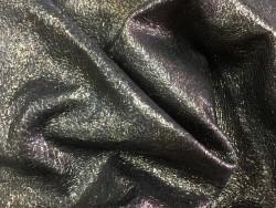 Cuir de chèvre craquelé noir métallisé Cuir en Stock