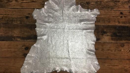 Peau de cuir de chèvre métallisé craquelé crème argent bijoux cuir en stock