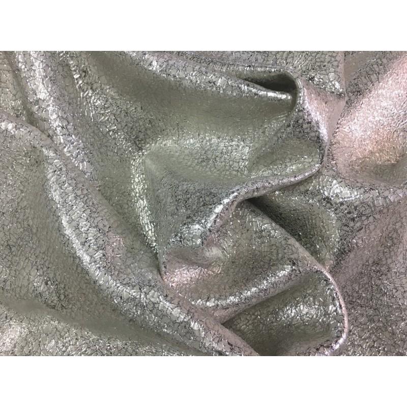 Cuir de chèvre métallisé craquelé crème argent Cuir en Stock