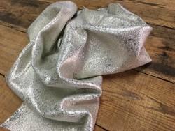 Tannage souple cuir métallisé craquelé beige argent Cuirenstock
