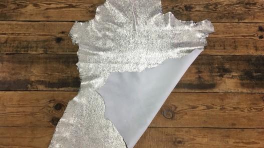 Endroit envers cuir de chèvre métallisé beige silver maroquinerie Cuirenstock