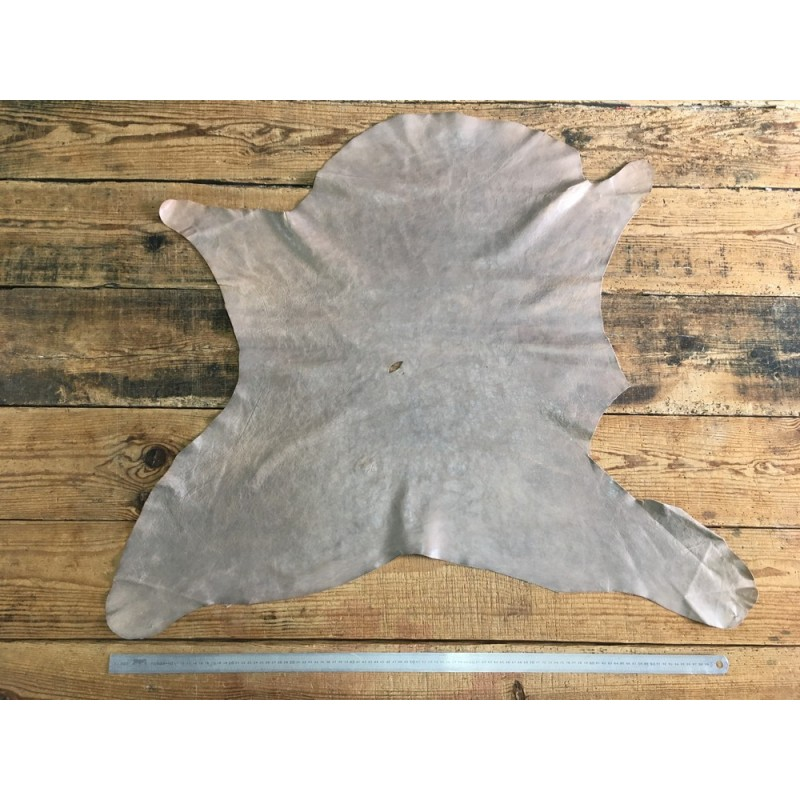 Peau de cuir de buffle gris beige naturelle Cuir en Stock