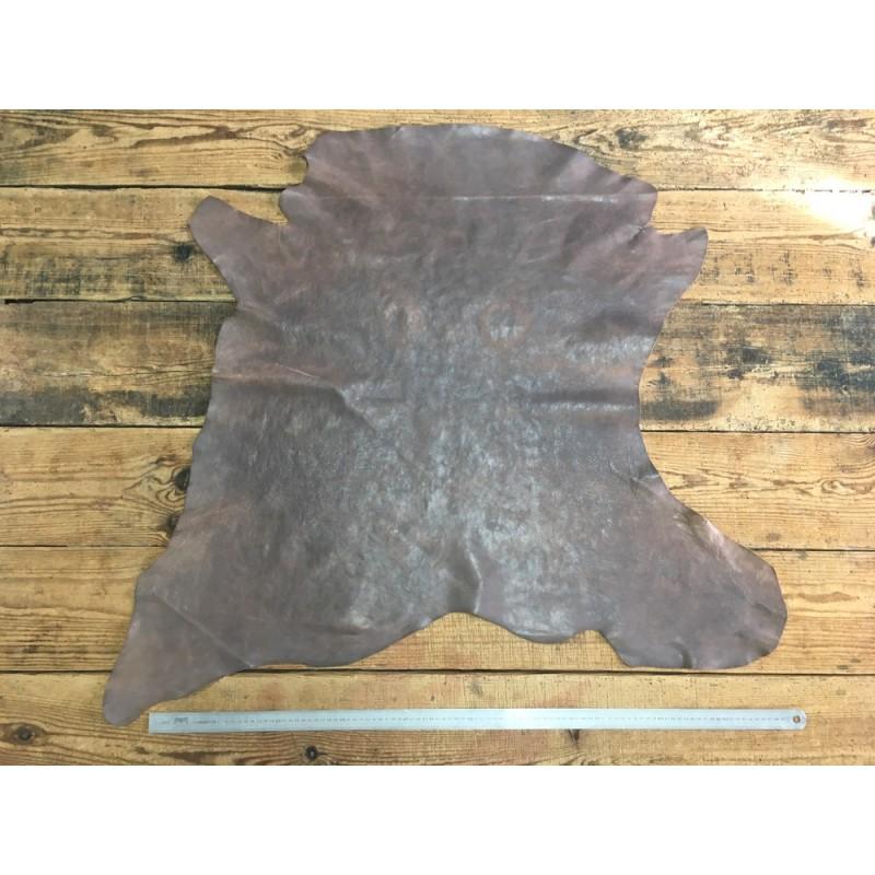 Peau de cuir de buffle tannage végétal taupe Cuir en Stock