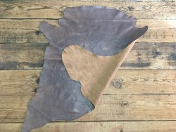 Endroit envers cuir de buffle tannage végétal taupe Cuirenstock
