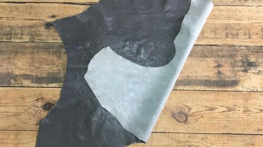 Endroit envers cuir de buffle végétal naturel gris sombre Cuirenstock