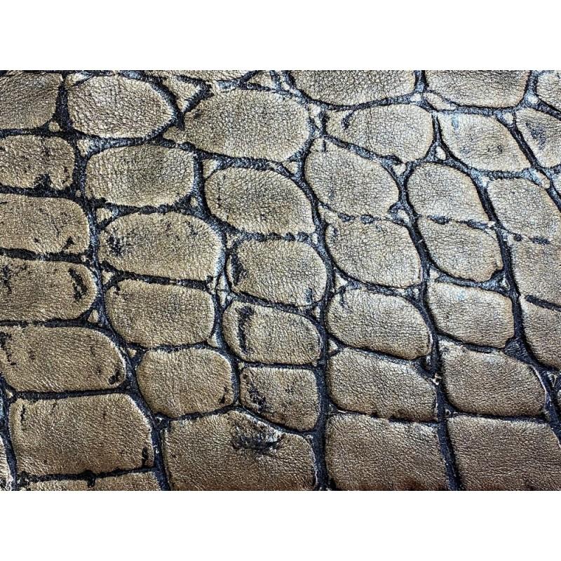 Morceau de cuir vachette grain croco vieil or Cuir en Stock