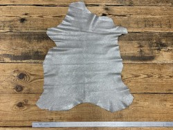 Peau de chèvre velours métallisé pailleté gris argent Cuir en Stock
