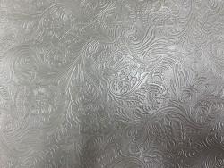 Cuir grain cordoue fleurie gris Cuir en stock
