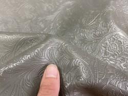 Cuir grain cordoue fleurie gris Cuirenstock