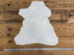 Peau de cuir de chèvre impression fleuri cordoue blanc Cuir en stock