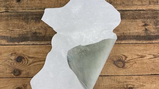 Peau recto verso chèvre blanc imprimée cordoue fleuri Cuirenstock