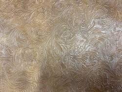 Cuir grain cordoue fleuri maroquinerie brun Cuir en stock