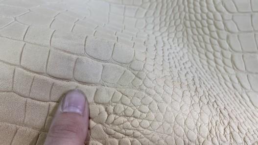 Cuir imprimé à chaud façon crocodile basane Cuirenstock