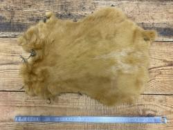 Peau lapin en poil fourrure jaune curry Cuir en stock