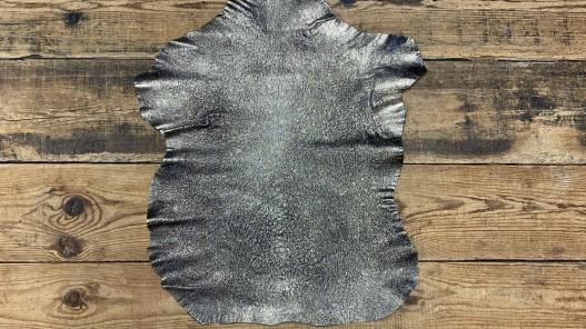 Peau de cuir de chèvre noir métallisé pailleté platine silver Cuir en stock