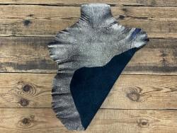 Recto verso cuir de chèvre noir métallisé pailleté platine cuir en stock