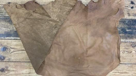Endroit envers cuir de buffle naturel brun Cuirenstock