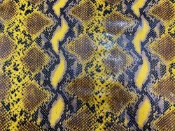 Cuir façon grain python jaune moutarde Cuir en Stock