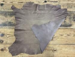 Endroit envers cuir d'agneau métallisé nacré brun doré Cuirenstock