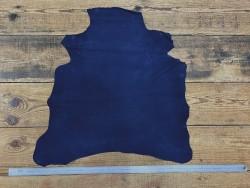 Peau de chèvre velours bleu saphir maroquinerie Cuir en Stock