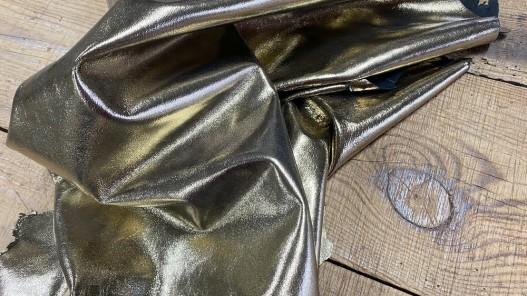 Souplesse peau de cuir de chèvre métallisé doré gold or Cuirenstock