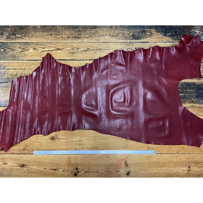 Demi-peau bande de cuir de buffle bordeaux satiné maroquinerie Cuir en Stock