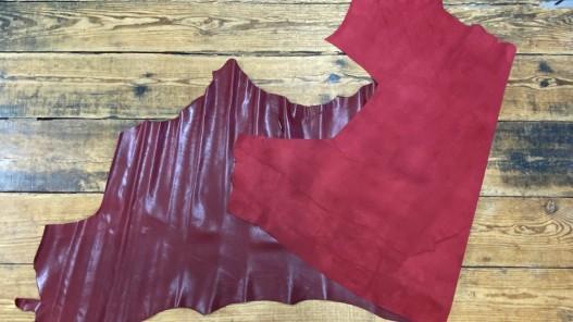 Endroit envers peau de cuir de buffle satiné bordeaux cuir en stock