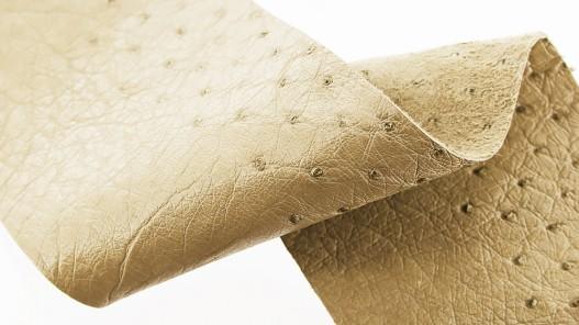 Morceau cuir autruche beige bijou déco bracelet montre luxe Cuir en Stock