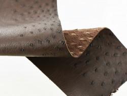 Morceau cuir autruche marron bijou accessoire luxe Cuir en stock