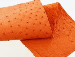 Morceau de cuir d'autruche orange picots bijou accessoire luxe Cuir en stock