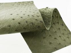 Morceau de cuir d'autruche vert kaki bijou accessoire luxe Cuir en Stock
