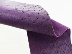 Morceau de cuir d'autruche de luxe violet avec picot Cuir en Stock