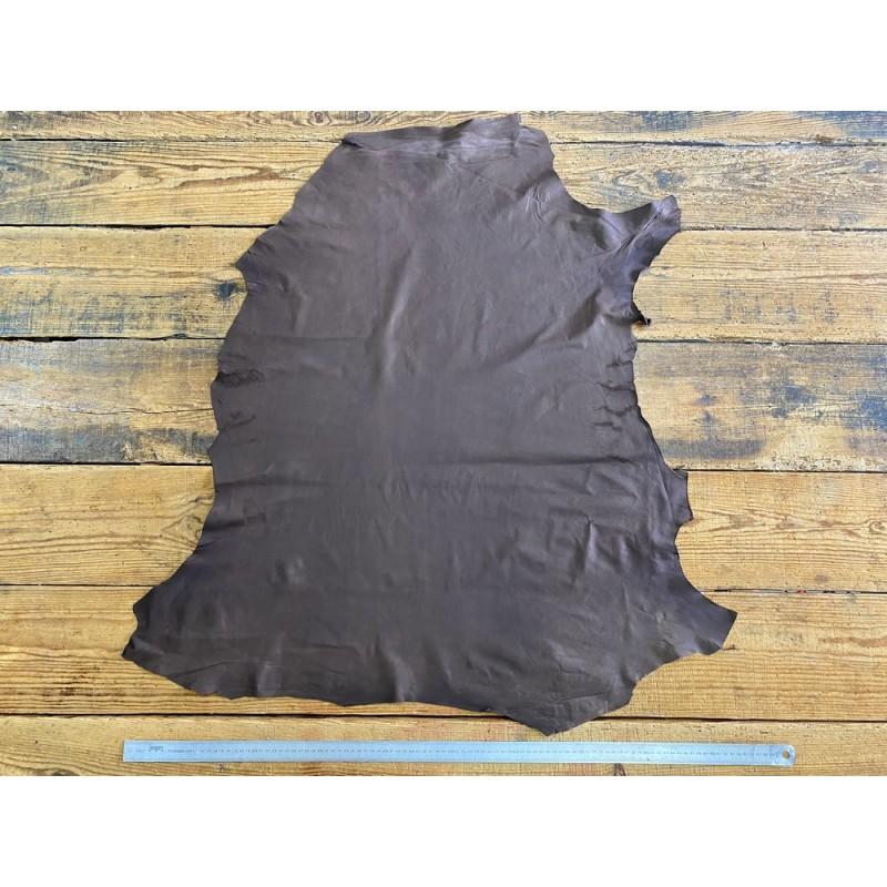Peau de cuir de mouton brun café doublure Cuir en stock