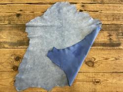Endroit envers peau de cuir de chèvre effet craquelé bleu océan Cuirenstock