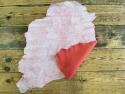 Endroit envers peau de cuir de chèvre effet craquelé rose fushia Cuirenstock