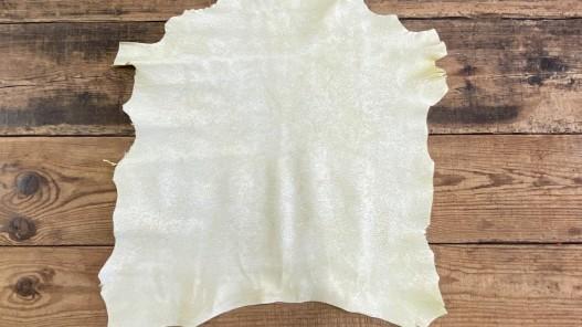 Peau de cuir de chèvre effet craquelé jaune maroquinerie Cuir en stock