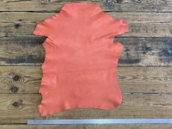 Peau de cuir de chèvre lavée orange pêche cuir en Stock