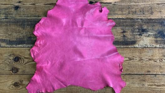 Peau de cuir de mouton nappa métis rose fuschia luxe Cuir en Stock