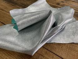 Souplesse du cuir de chèvre métallisé argent et bleu turquoise cuirenstock
