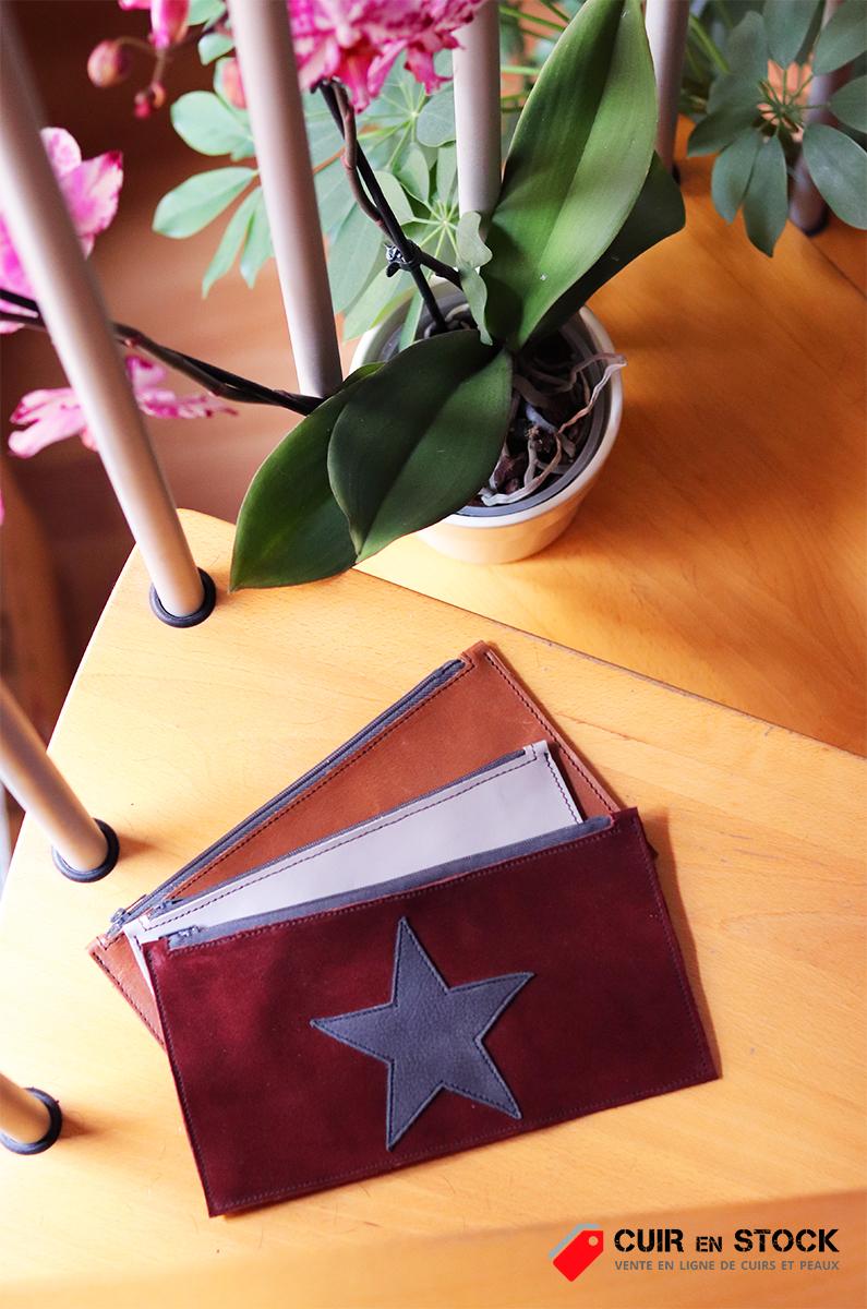 trousse pochette en cuir maroquinerie patron couture gratuit cuir en stock