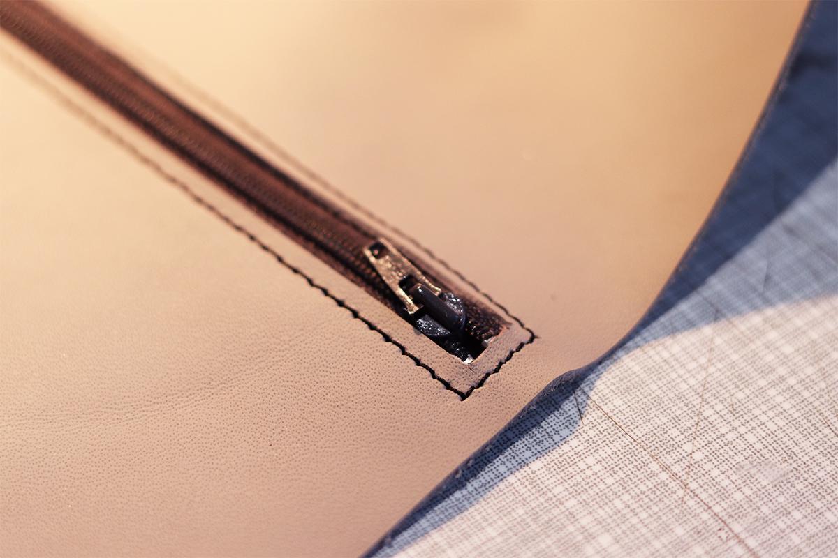 coudre une fermeture eclair zip sur du cuir