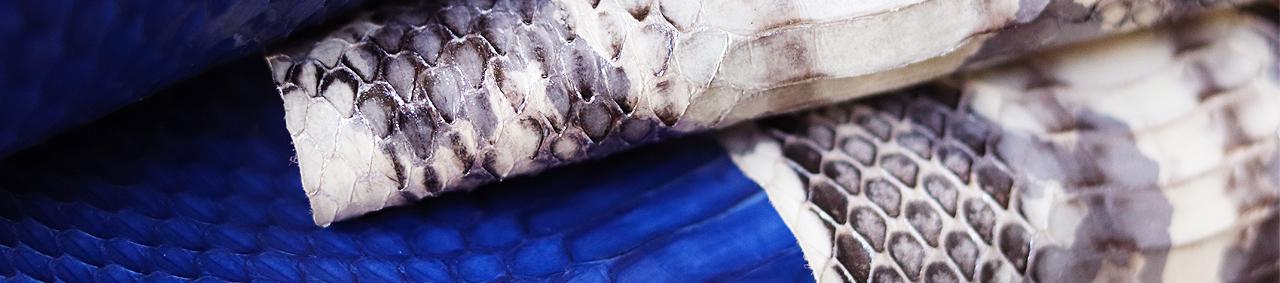 peau cuir de serpent exotique Cuir en Stock