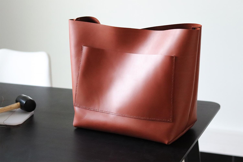 tuto DIY tutoriel sac cabas en cuir camel Cuirenstock