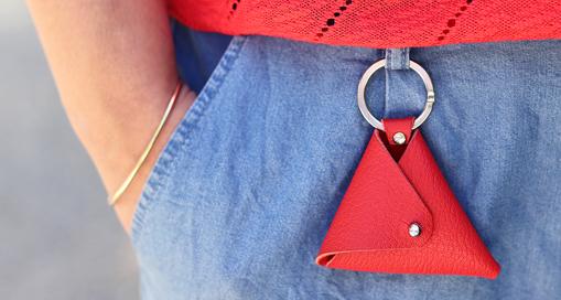 TUTO : Le porte-monnaie triangle en cuir (patron gratuit)